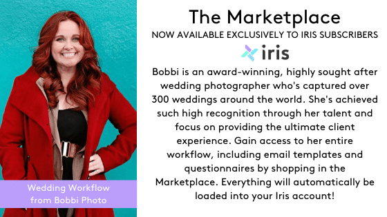 Iris subscribers have exclusive access to a full wedding workflow from award-winning photographer Bobbi Sheridan.