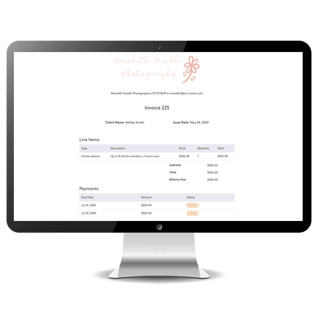 Invoicing for photographers in Iris Works, photographers can get paid through an integrated payment processor