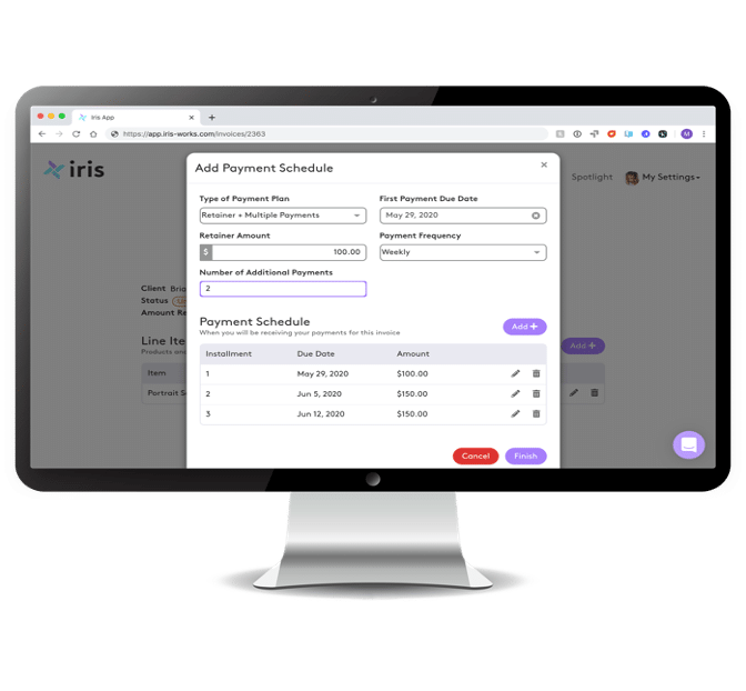 Invoicing for photographers in Iris Works, with a payment schedule