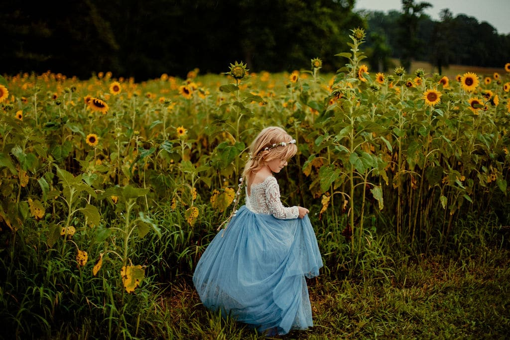 portrait of a girl in sunflower field