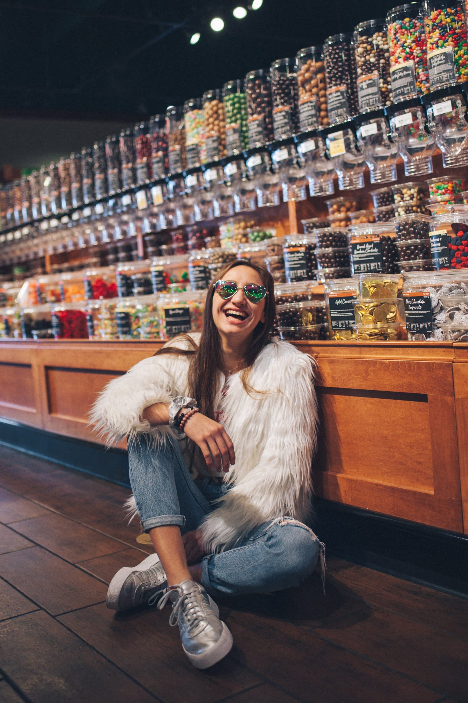 portrait of a girl in candy shop