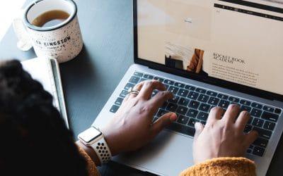blogging on laptop